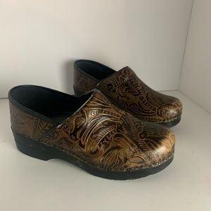 Dansko Tooled Brown Clogs